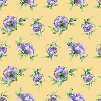 Um padrão de aquarela sem costura com uma variedade de flores de peônia lilás e folhas em um fundo amarelo