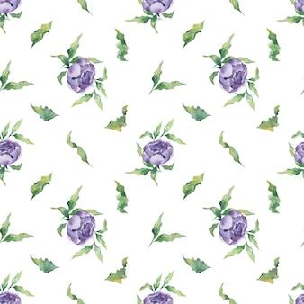 Um padrão de aquarela sem costura com uma variedade de flores de peônia lilás e folhas em um fundo branco