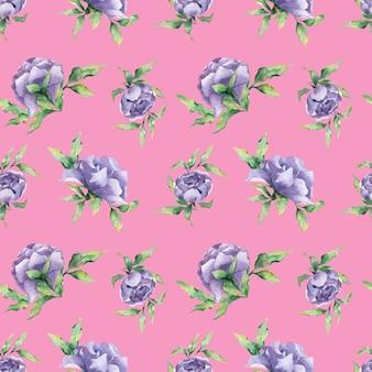Um padrão de aquarela sem costura com uma variedade de flores de peônia lilás e folhas em um fundo rosa