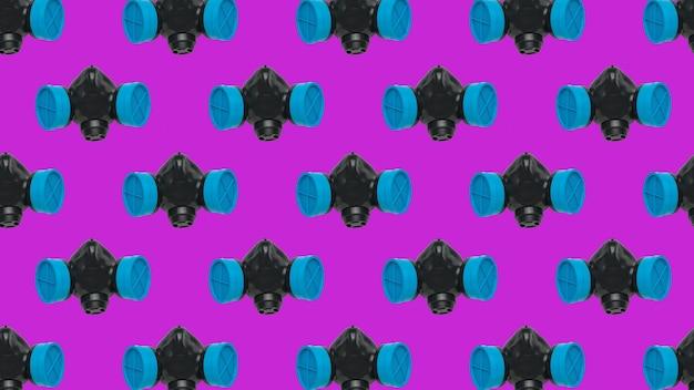 Um padrão de máscaras de gás pretas e azuis em uma superfície roxa