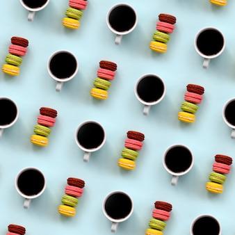 Um, padrão, de, muitos, coloridos, sobremesa, bolo, macaroon, e, xícaras café
