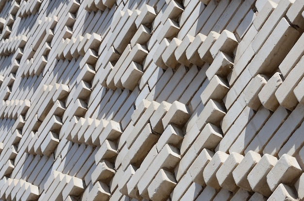 Um, padrão, feito, de, branca, tijolos, em, a, forma, de, formas diamante