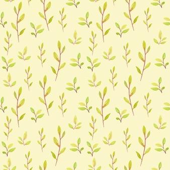 Um padrão sem emenda de outono com plantas em aquarela.