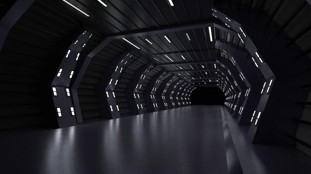 Um palco moderno e futurista com renderização 3d de luzes de néon