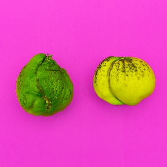 Um par de lima e limão feios. arte minimalista