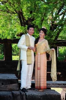 Um, par, em, tailandia, tradição, paleto