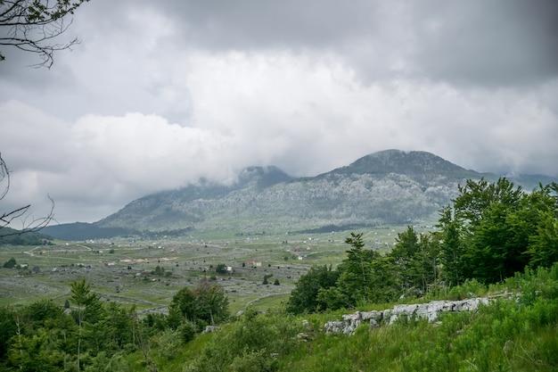 Um passeio na floresta e montanhas em tempo nublado.