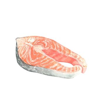 Um pedaço de peixe vermelho oleoso