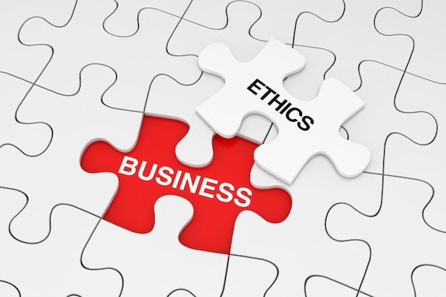 Um pedaço de quebra-cabeça branco sobre a planície de branco quebra-cabeça com sinal de ética empresarial sobre um fundo vermelho. renderização 3d
