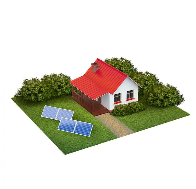 Um pedaço de terra com gramado com casa, arbustos e painéis solares