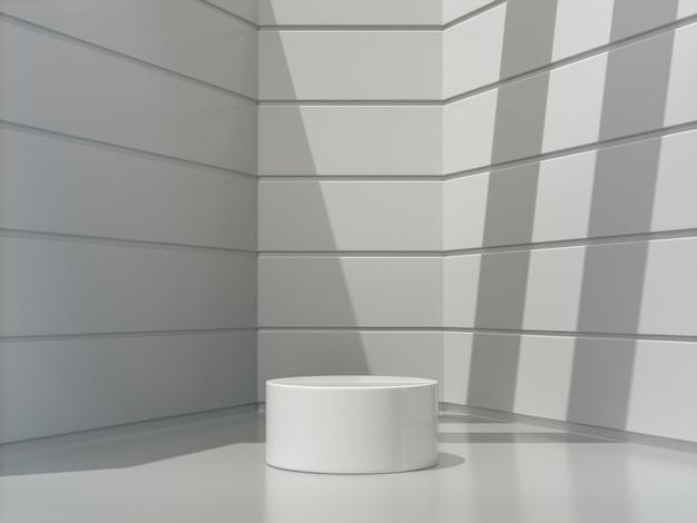 Um pedestal branco para a mostra do produto na sala branca