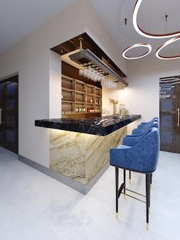 Um pequeno bar na área do bar com uma área de estar. balcão de mármore com bancos de bar azuis e prateleiras com bebidas alcoólicas. renderização 3d