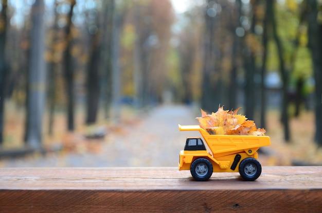 Um pequeno caminhão amarelo de brinquedo é carregado com folhas caídas amarelas.