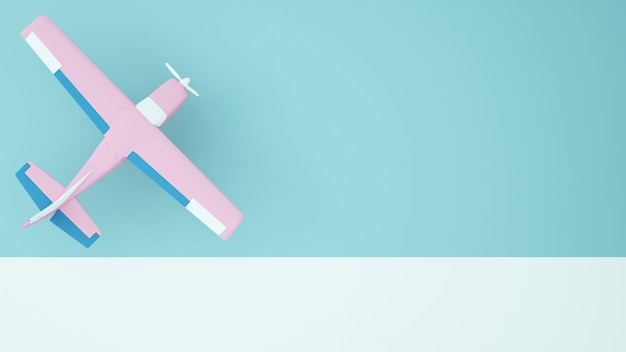 Um, planepaper, arte, conceito, cor pastel, fundo, -3d, fazendo
