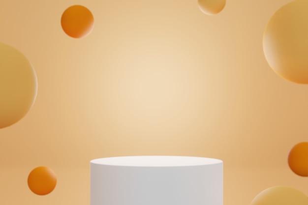 Um pódio para montar e exibir produtos cilíndricos brancos com fundo laranja e bolas amarelas laranja - renderização 3d.