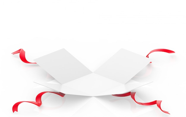 Um presente branco aberto ou caixa de presente com fita vermelha no chão branco