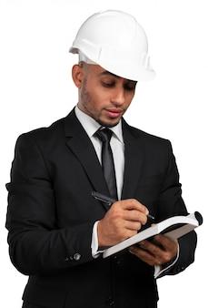 Um, pretas, homem, americano africano, trabalhador construção