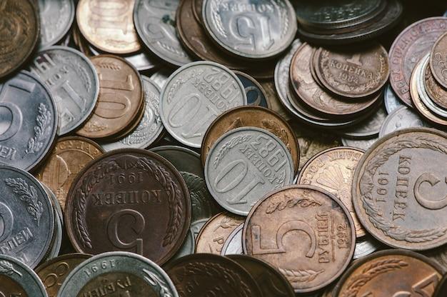 Um punhado de moedas russas antigas