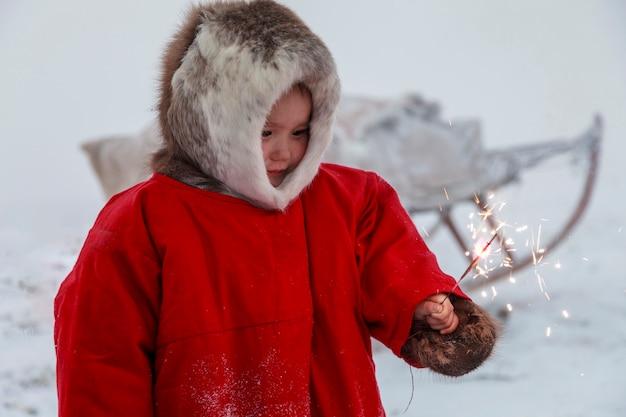 Um residente da tundra, moradores indígenas do extremo norte, tundra, área aberta, as crianças andam em trenós