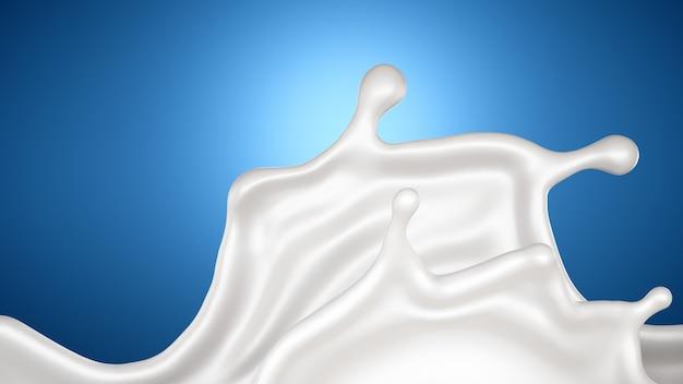 Um respingo de leite sobre um fundo azul. renderização em 3d.