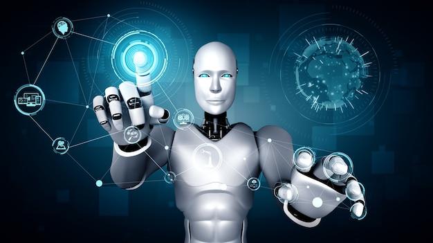 Um robô humanóide ai tocando a tela do holograma mostra o conceito