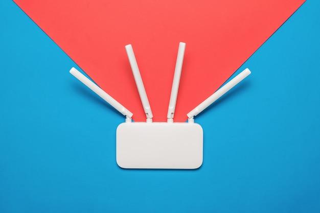 Um roteador wi-fi sem fio com uma direção de propagação de sinal imaginária. organização de redes sem fio.