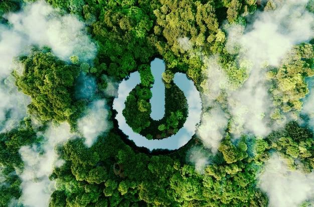 Um símbolo de poder na forma de um lago de água no meio de uma selva renderização em 3d