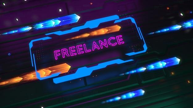 Um sinal de tecnologia luminosa com a inscrição freelance. fundo abstrato tecnologia