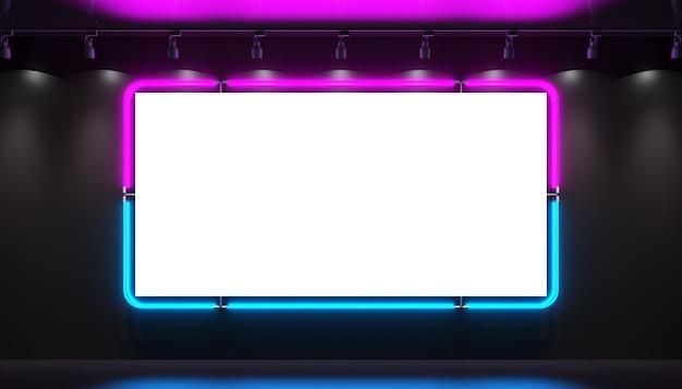 Um sinal em branco de néon roxo azul brilhante em um fundo preto está brilhando