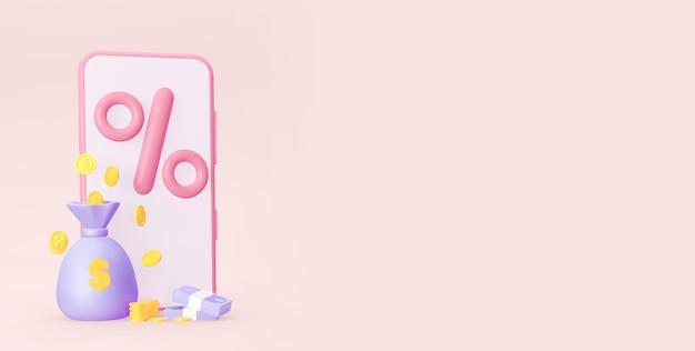 Um smartphone com um sinal de porcentagem moedas e com uma bolsa de dinheiro com um espaço vazio renderização em 3d