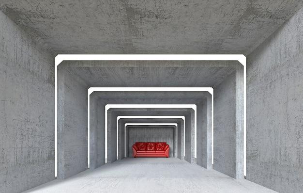 Um sofá vermelho na sala concreta, 3d rende.