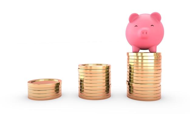 Um sorriso cofrinho rosa na moeda de ouro sobre fundo branco. poupança de dinheiro e economia concept.3d render. isolado.