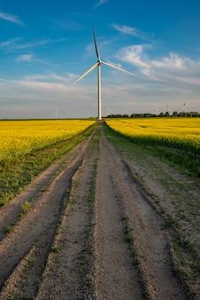 Um suv vermelho abaixo de uma turbina eólica no final de uma estrada em um campo de canola