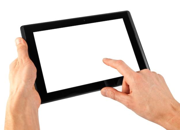 Um tablet com fundo branco