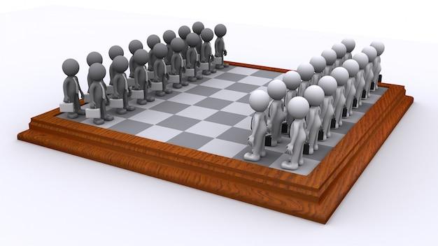 Um tabuleiro de xadrez de pessoas de negócios. conceito de estratégia de negócios