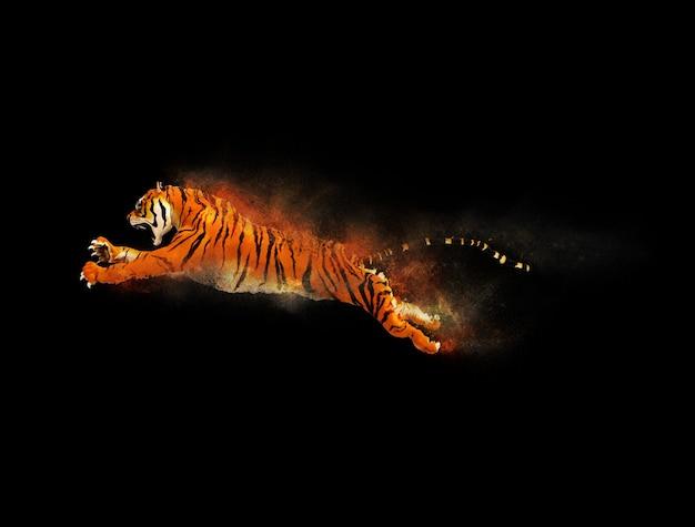 Um tigre em movimento e pulando com efeito de partículas de poeira no fundo preto