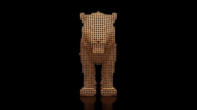 Um tigre feito de muitos cubos em um espaço uniforme preto. construtor de elementos cúbicos. arte do mundo animal selvagem no desempenho moderno. renderização em 3d.