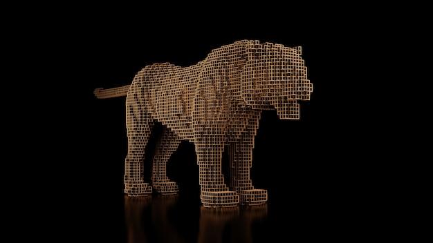 Um tigre feito de muitos cubos em um uniforme preto
