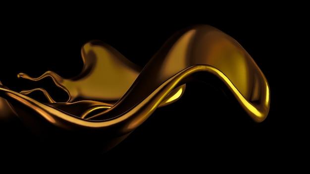 Um toque elegante e luxuoso de um líquido dourado. ilustração 3d, renderização em 3d.
