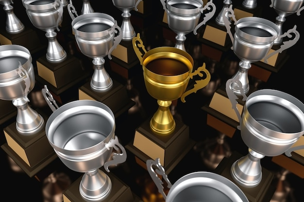 Um troféu de ouro campeão único diferente, conceitos de negócios de liderança única.