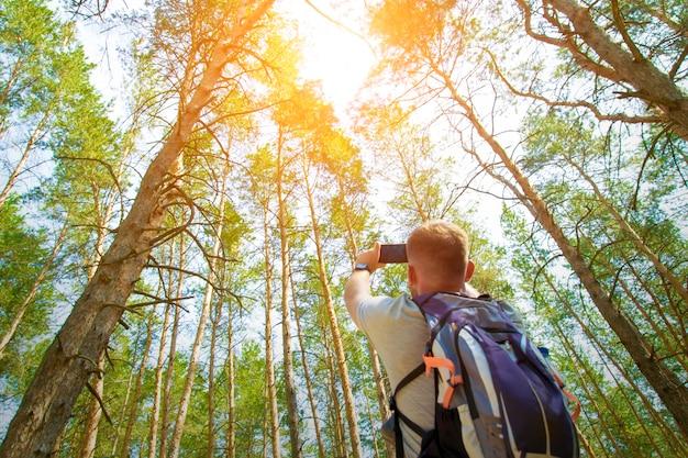 Um turista de homem com uma mochila tira uma foto no telefone na floresta de coníferas.