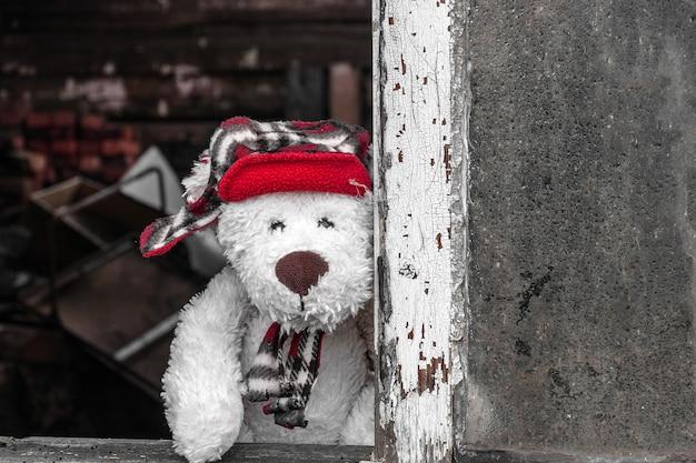 Um ursinho de pelúcia está olhando para nós da janela de uma casa abandonada.
