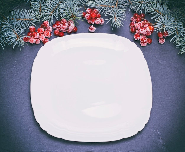 Um, vazio, quadrado branco, prato, ligado, pretas