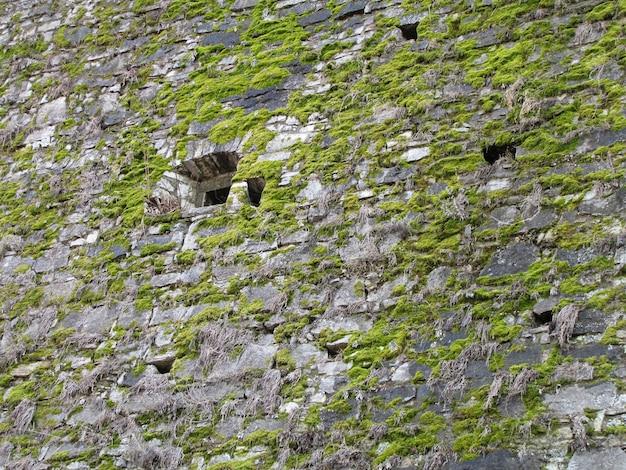 Um velho muro de pedra coberto de musgo