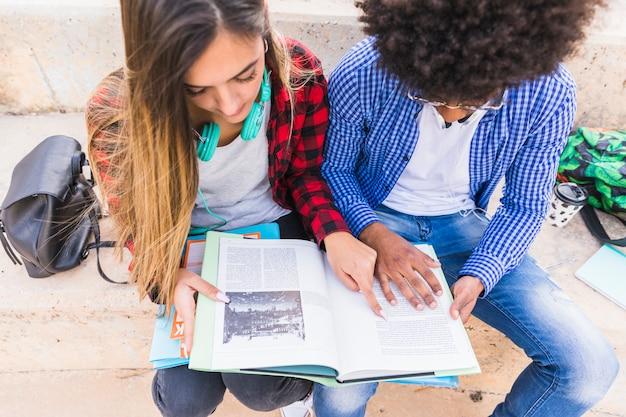 Um, visão aérea, de, macho fêmea, estudante, lendo livro