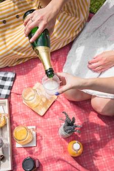 Um, visão aérea, de, mulher, cerveja derramando, ligado, vidro, ligado, piquenique