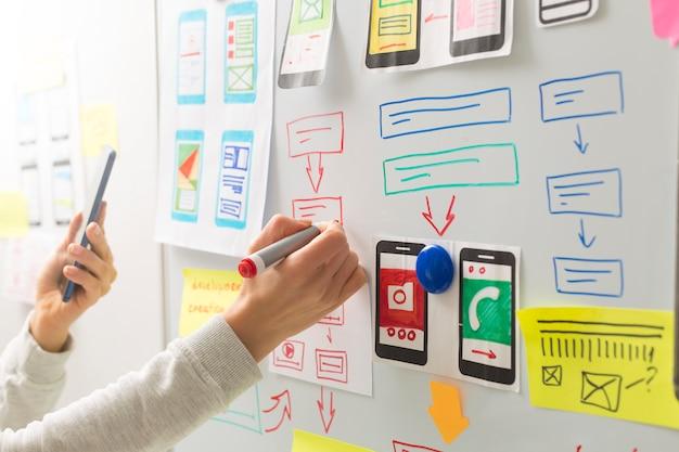 Um web designer está desenvolvendo uma interface de usuário para aplicativos de telefonia móvel.