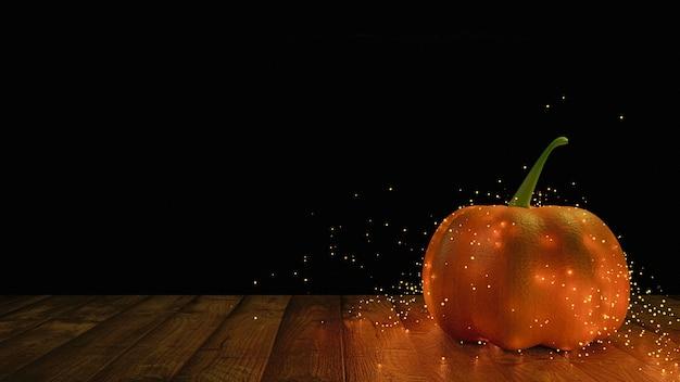 Uma abóbora na mesa de madeira, cercada por vaga-lumes brilhantes, fundo de halloween