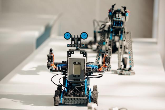 Uma amostra de um robô e um dinossauro de um construtor robótico.