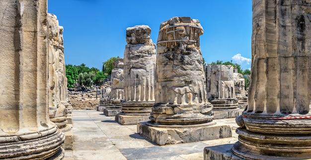 Uma base de uma coluna do templo de apolo em didyma, turquia